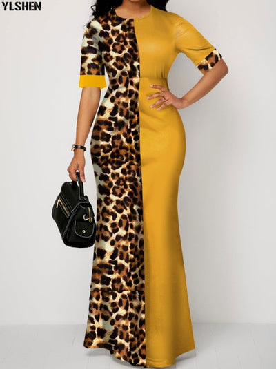 Yellow Leopard African Bodycon Long Maxi Dress - Nellie's Way Beauty, Inc.