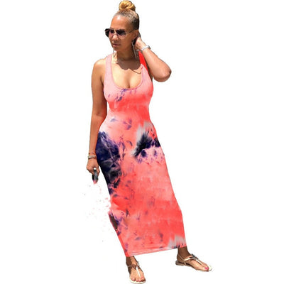 Tie Dyeing Print Backless Dress - Nellie's Way Beauty, Inc.