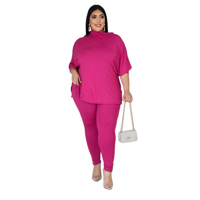 2 P Set Women Turtleneck High Stretch Outfit - Nellie's Way Beauty, Inc.