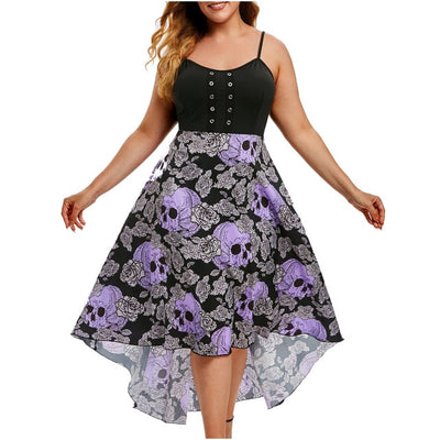 Sleeveless Grommet Floral Skull Print - Nellie's Way Beauty, Inc.