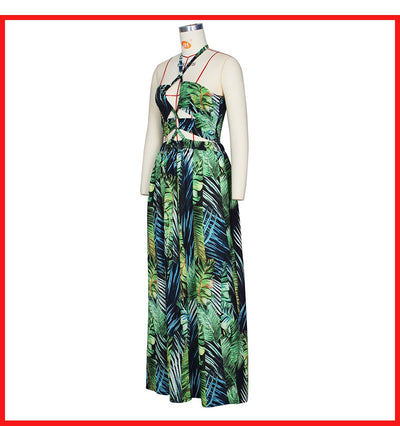 Bohemian Palm Leaf Maxi Dress - Nellie's Way Beauty, Inc.