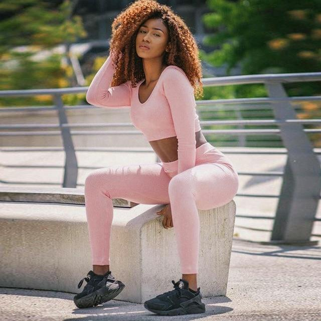 Nellie's Way Active Wear- 2 Piece Hooded Crop Top + Leggings - Nellie's Way Beauty, Inc.