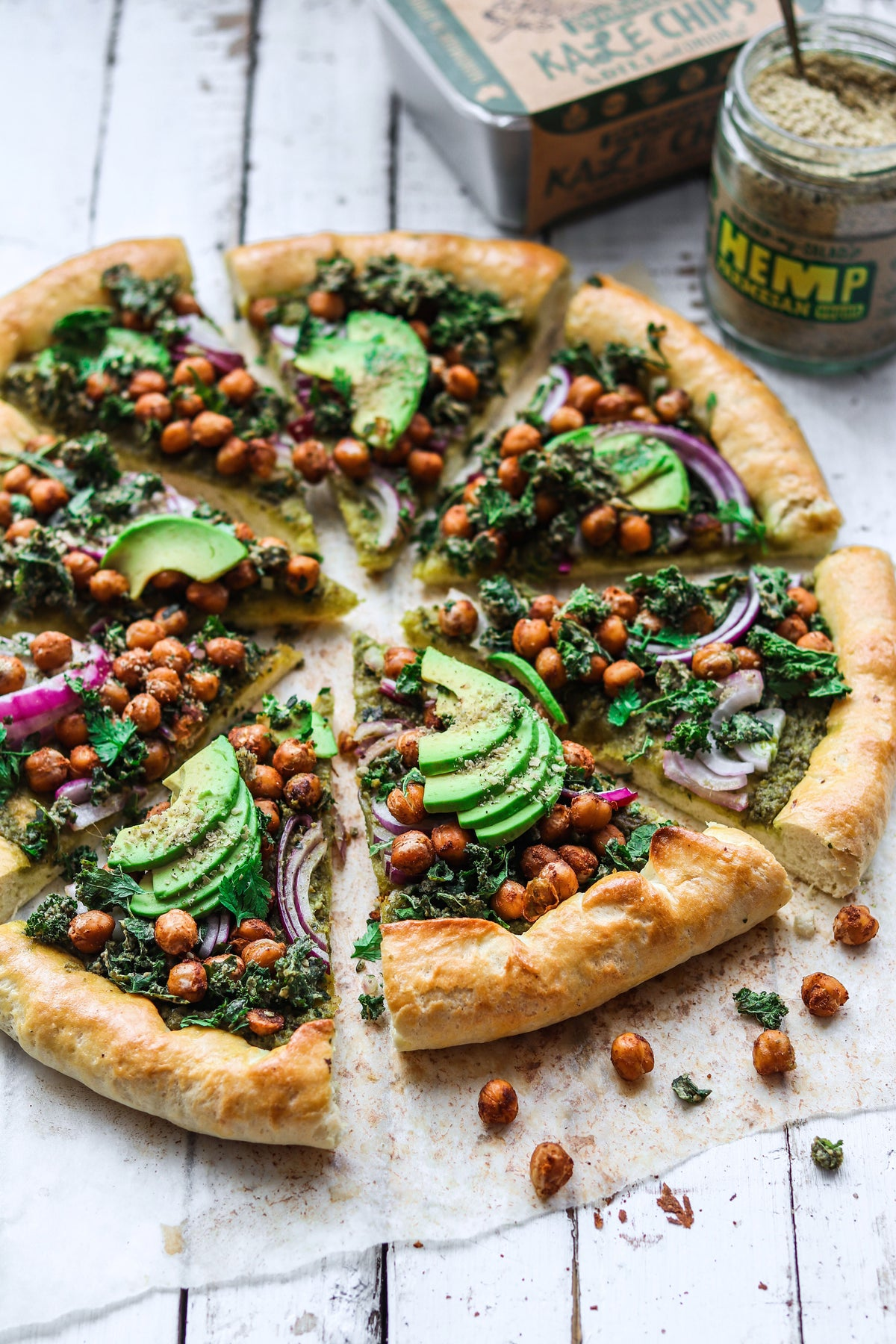 Homemade Vegan Pizza Topped with Hemp Parmesan and Kale Chips | Vegan Diet