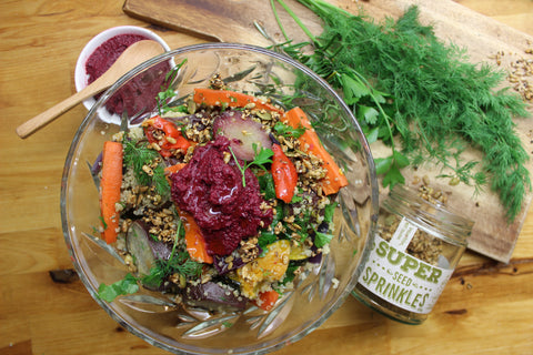 Warm Quinoa & Roasted Vegetable Salad with Beetroot Dip and Super Seeds Topping