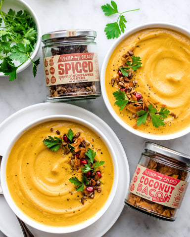 Vegan Pumpkin Soup with Spiced Sprouted Sunflower Seeds