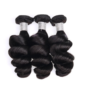 Uniquely Tamed Hair 3 bundles of Indian loose wave human hair