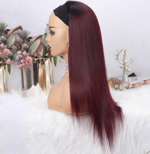 Ombre 1B & 99J Burgundy Straight Headband Wig