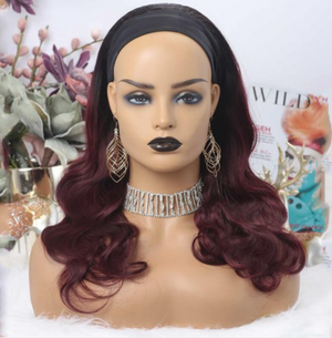 Ombre 1B & 99J Burgundy Body Wave Headband Wig