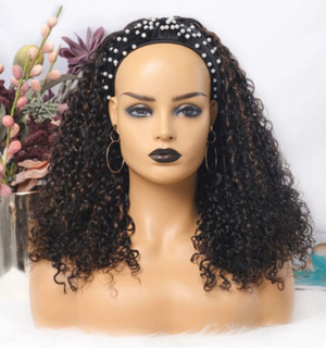 Brazilian Highlight Color Curly Headband Wig