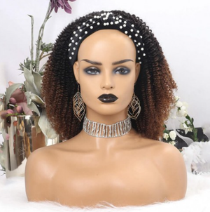 Ombre Color Kinky Curly Headband Wig