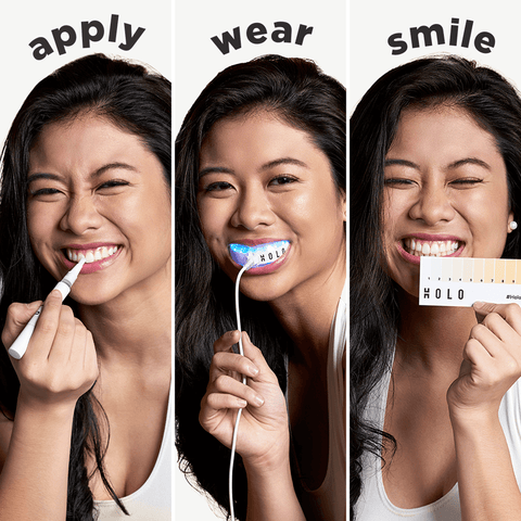 How to Use Holo - 1 Apply gel, 2 Wear mouthpiece, 3 Smile!