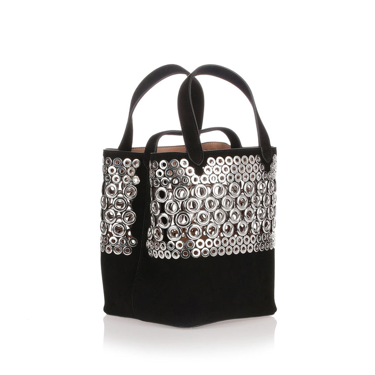 Black eyelet suede bag