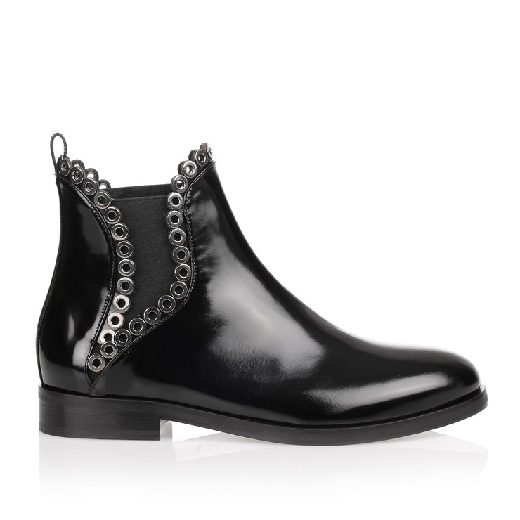 Black shiny calf eyelet Chelsea boot