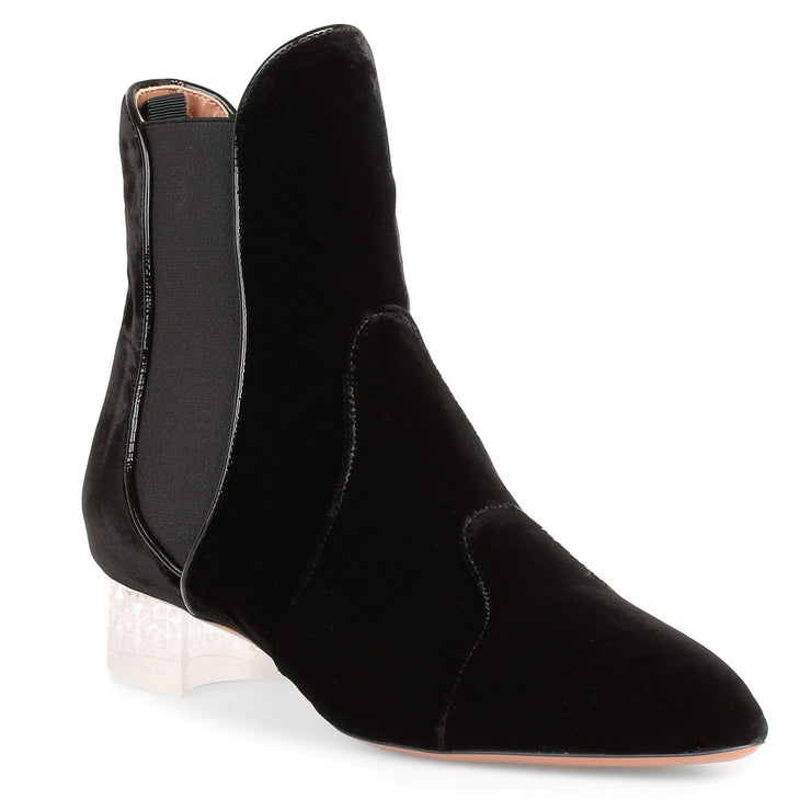 Black velvet plexi ankle boot