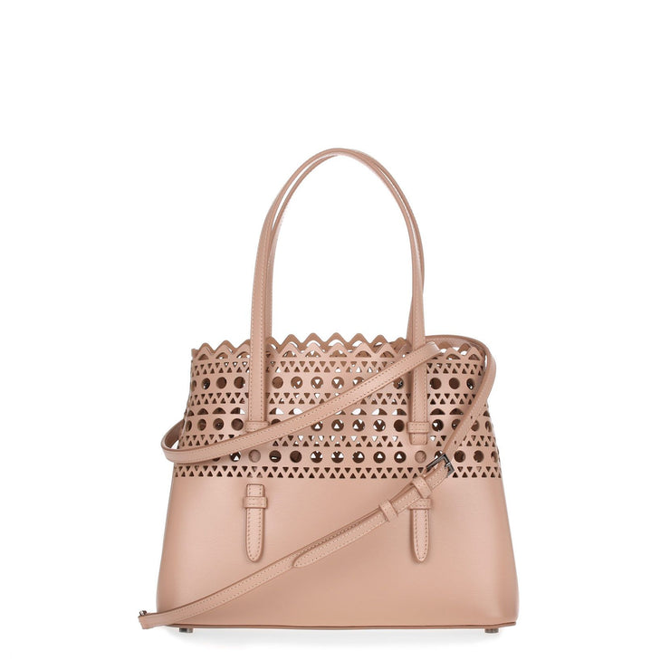 Beige leather laser-cut small tote