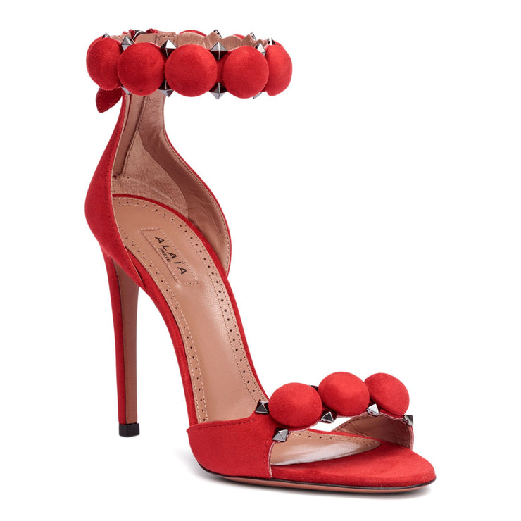 Red suede bomb sandals