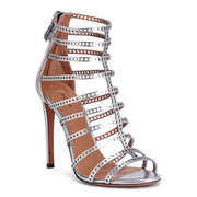Metallic Silver Laser-Cut Leather Sandals
