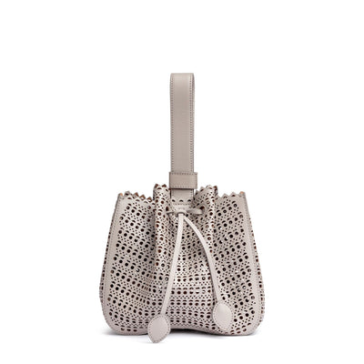 Grey leather laser-cut bucket bag
