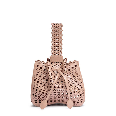 Beige leather laser-cut bucket bag