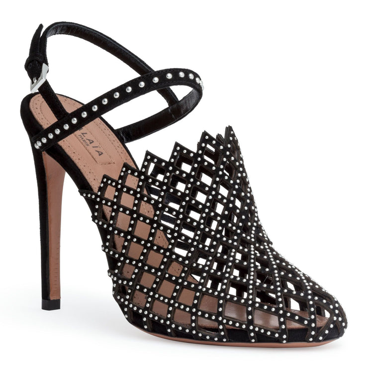 Black 110 cut out stud sandals