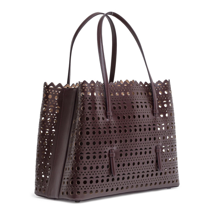 Brown laser cut tote bag