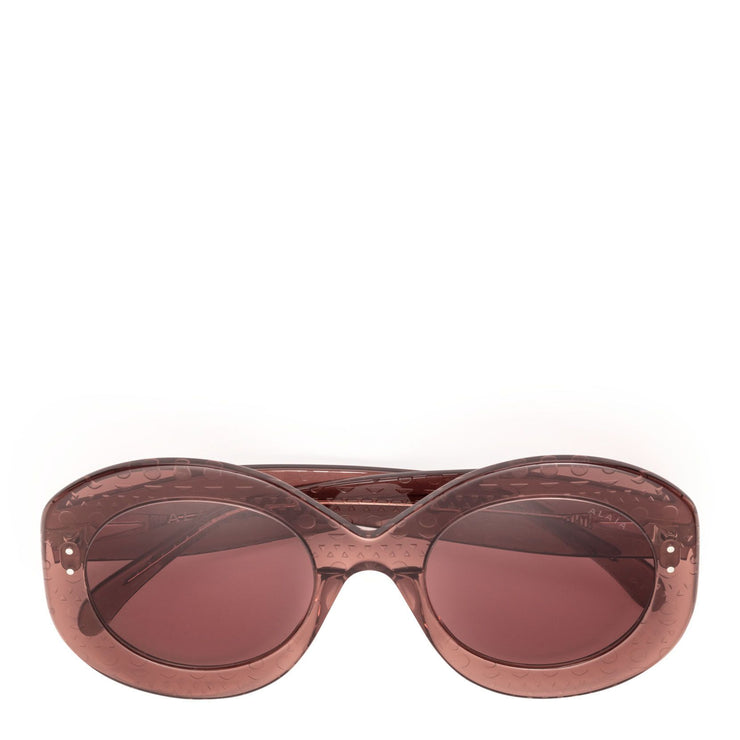 Dark pink round acetate sunglasses