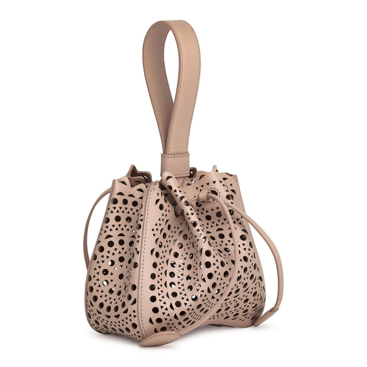 Rose-Marie Mini light beige laser-cut bucket bag