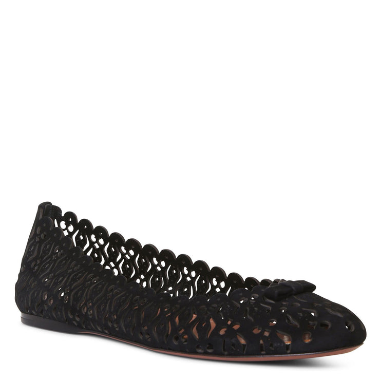 Black suede laser cut ballerinas
