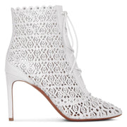 White laser cut lace-up ankle boots