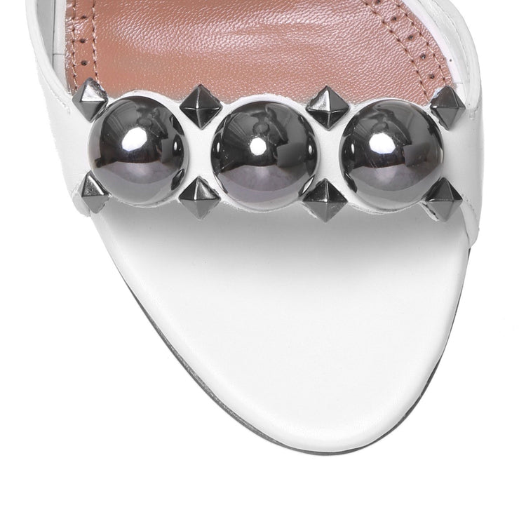 White metal bombe sandals