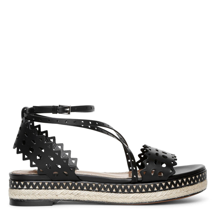 Laser cut leather espadrille platform sandals