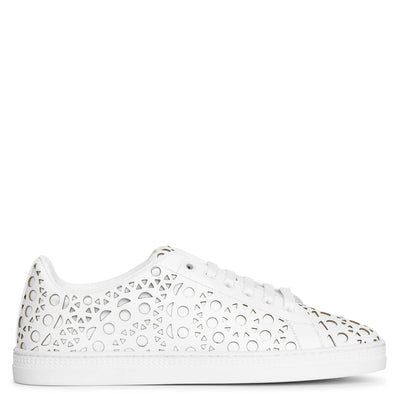 White laser cut leather sneakers