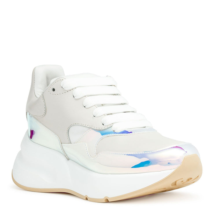Holographic and off white leather sneaker