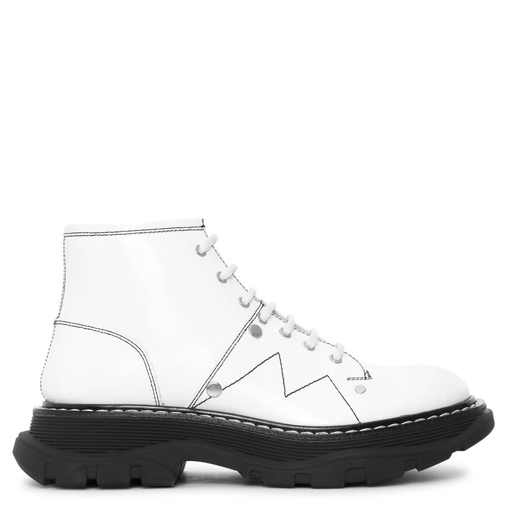 White thread lace up boots