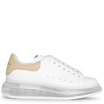 White and beige classic leather sneakers