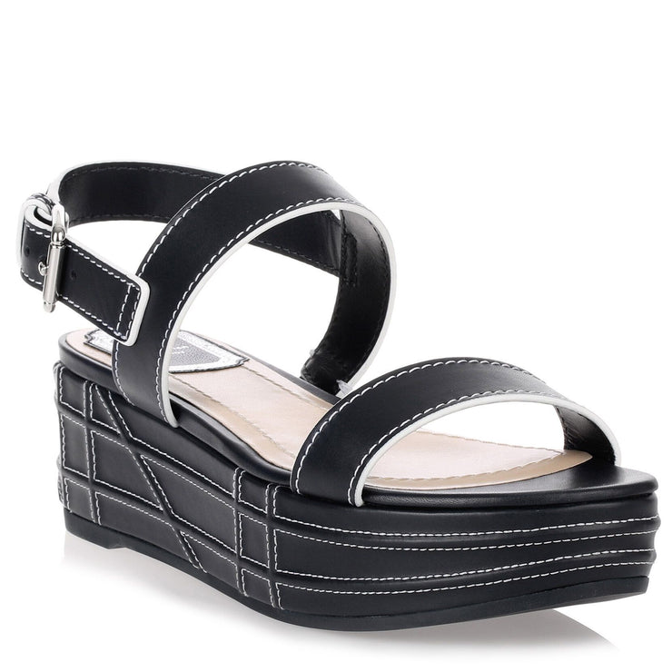 Yacht navy leather sandal