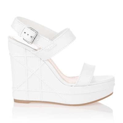 Yacht white leather wedge sandal