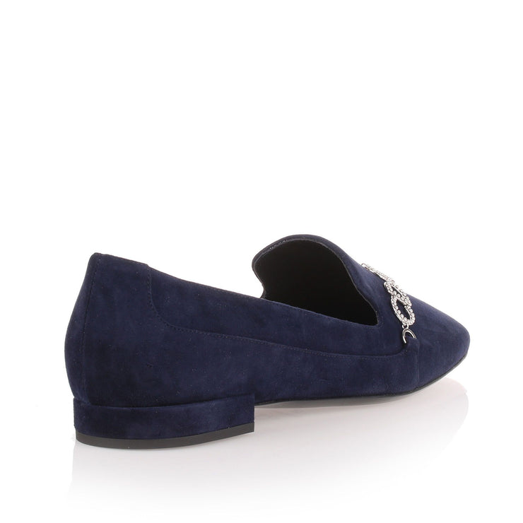 Navy suede loafer