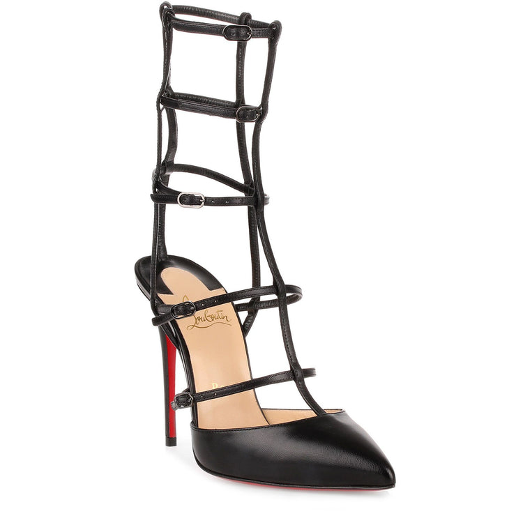 Kadreyana 100 black leather cage pump
