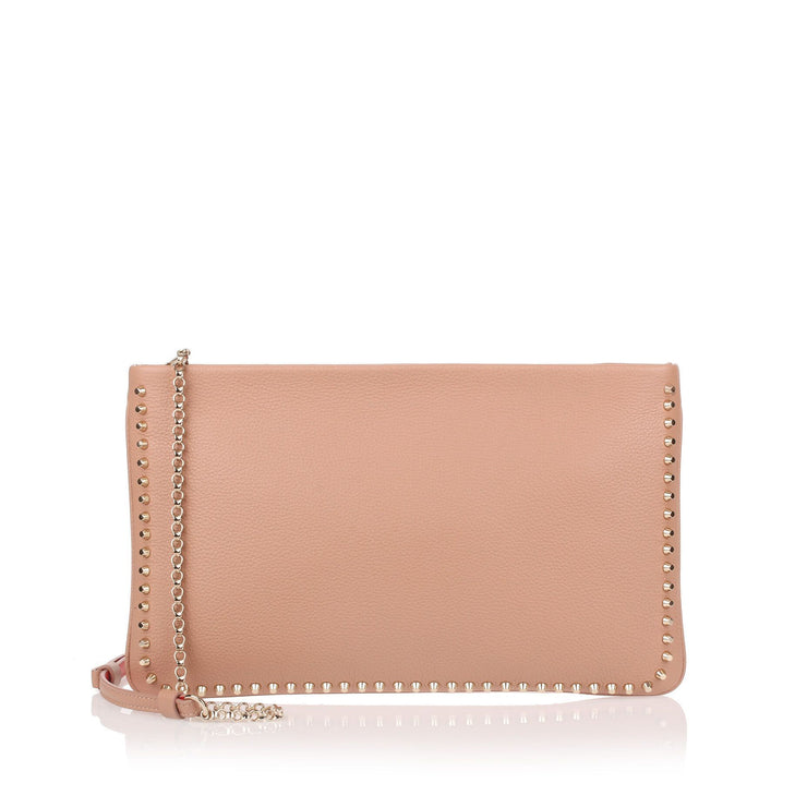 Loubiposh beige leather spikes clutch
