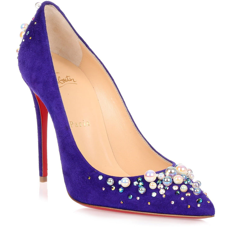 Candidate 100 purple suede embellished pump
