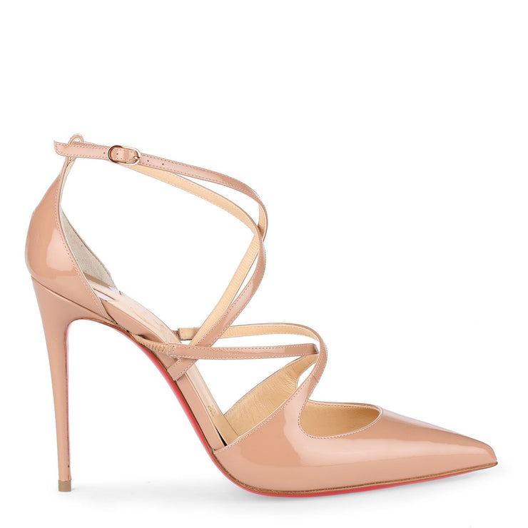 Crossfliketa 100 beige patent leather pumps