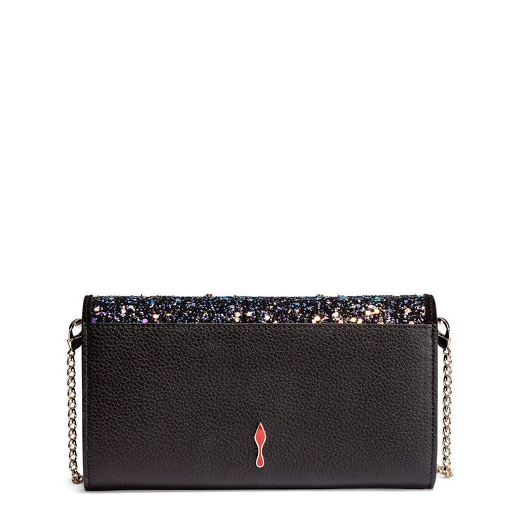 Boudoir beaded black leather chain wallet