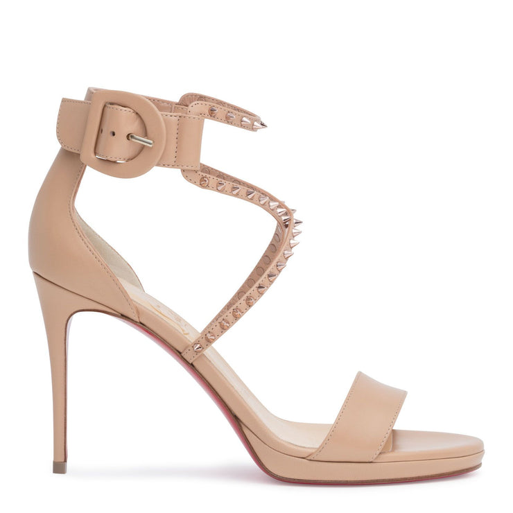 Choca 100 beige leather stud sandals