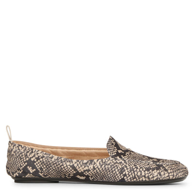 Snake print suede loafers