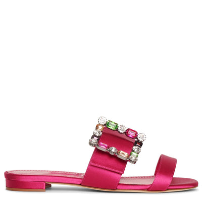 Verdaflat pink satin sandals