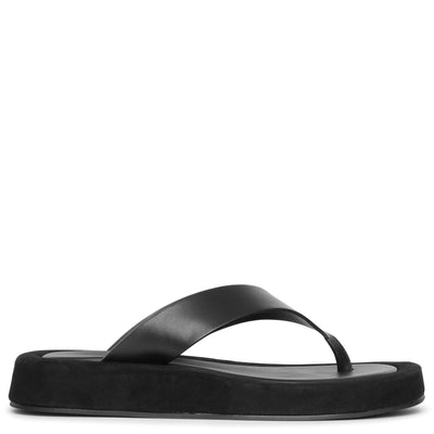 Ginza leather and suede platform flip flops