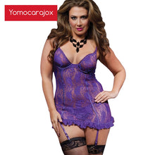 Load image into Gallery viewer, Hot Sell 6XL Sexy Lingerie Plus Size Mesh Hollow Baby Doll Dress Erotic Black Purple Women Costumes Cottonsexy Underwear