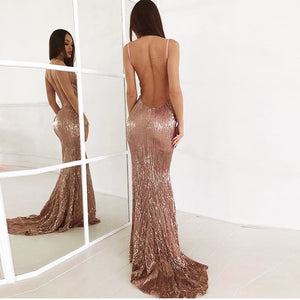 Sexy V Neck Champagne Gold Sequined Maxi Dress Floor Length Party Dress Sleeveless Strapless Backless Long Mermaid Dress - Y O L O Fashion Store