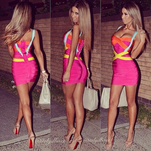 Plus Size XL XXL Summer Dress Women Sexy Hot Pink Bandage Dress Vestido Ladies Elegant Designer Bodycon Mini Party Dress - Y O L O Fashion Store